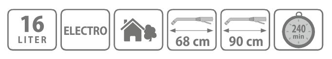 Caracteristici pompa tip rucsac ELECTRO 16 litri