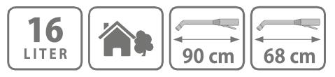 Caracteristici pompa manuala de presiune, tip rucsac 16 litri