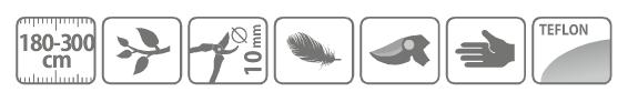 Caracteristici foarfeca profesionala pentru taiat cu lama curbata, cu maner lung telescopic 180 - 300 cm