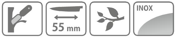 Caracteristici cutit pentru altoit cu lama 55 mm si pana