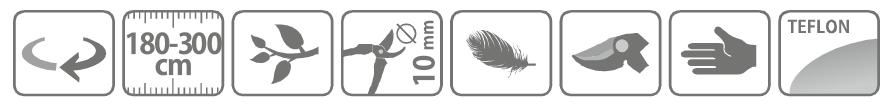 Caracteristici foarfeca profesionala pentru taiat cu cap orientabil, cu maner lung telescopic 180 - 300 cm