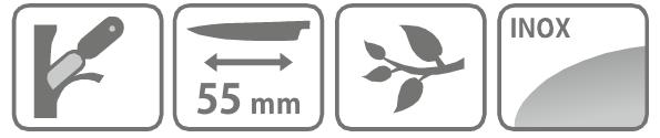 Caracteristici cutit pentru altoit cu lama de 55 mm